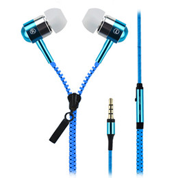 Wholesale Orange Headphones - Fashional Zipper Metal Headset Stereo Wired Earphones 3.5mm In-Ear Headphone Earphones For LG HTC Samsung Iphone