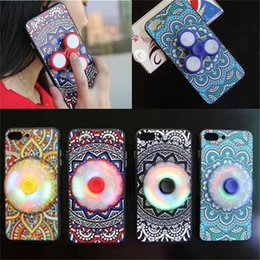 Wholesale Fingertip Covers - Fingertip Gyro LED Phone Cases Ethnic Style Toys EDC Finger Spinner Phone Case with LED for iPhone 6 6S 6 Plus 7 Plus Focus Phone Cover Case