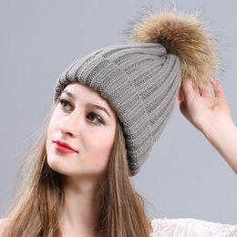 Wholesale Womens Winter Hat Poms - 2017 New Hat Female Classic Knitted Fur Pom Poms Women Cap Headdress Head Warmer Womens Winter Hats Skullies Beanies