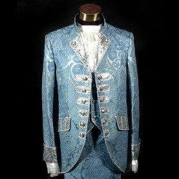 Wholesale Colonial Costumes - 2017 New Blue Royal Mens Period Costume Medieval Renaissance Stage Performance Prince Charming Fairy Tale William Colonial Stage Costumes