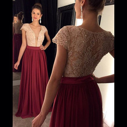 Wholesale Sexy Turquoise Evening Dress - Formal Sequins Lace Short Capped Sleeves Chiffon Long Burgundy Turquoise Prom Dresses 2016 Deep V-Neck Floor Length Evening Party Dress