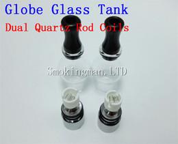 Wholesale Full Globe - Cheapest!! Quartz dual wax Coil glass globe atomizer ceramic Core ceramic Wax Cotton coil head VS Cannon Donut Full Ceramic skillet tank