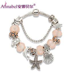 Wholesale Glass Starfish Charms - Wholesale-2016 Ocean Style Starfish Charm Bracelet for Women With Blue Murano Glass Beads Turtles Charms Bracelets & Bangles DIY Jewelry