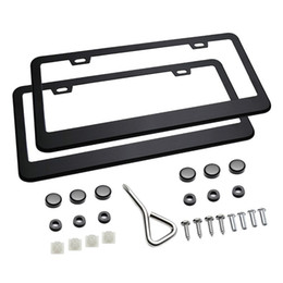 Wholesale Anti Theft License Plate Screws - Matte Aluminum License Plate Frame with Screw Caps (2 Pieces)
