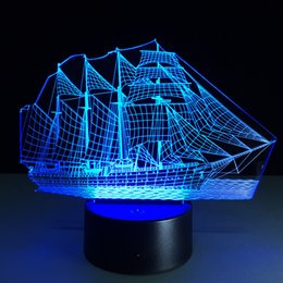 Wholesale Candle Boat - 2017 3D Boat Optical Illusion Lamp Night Light DC 5V USB Charging AA Battery Wholesale Dropshipping Free Shipping