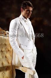 Wholesale Mens Double Vests - New Arrivals Double Breasted White Groom Tailcoat Peak Lapel Groomsmen Best Man Suits Mens Wedding Suits (Jacket+Pants+Vest+Tie) 02