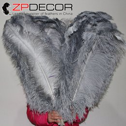 Wholesale Large Cheap Feathers - ZPDECOR Feather Wholesale 70-75cm(28-30 inch)Large Size Dyed Grey South Africa Ostrich Feathers Cheap Sale