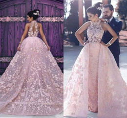 Wholesale Halter Lace Prom Dress Blush - Formal Arabic Evening Dresses Appliques Blush Pink Hater Long Prom Celebrity Party Gowns with Detachable Train Custom Made vestidos festa
