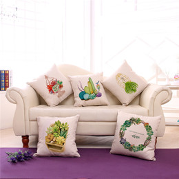 Wholesale hand painted cushions - Hand Painted Lovely Succulents Linen Throw Pillow Office Chair Seat Back Cushion Square 45*45 Cm 240526