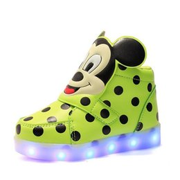 Wholesale Cute Tops For Cheap - High Top Mickey LED Shoes for Kids Hot Cute Polka Dot Childrens Skateboarding Shoes Slip-On Girls Boys LED Lighted Shoes Cheap 880