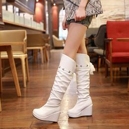 Stivali bianchi online-Stivali inverno giallo bianco tacco alto zeppe scarpe da sposa alta gamba nuziale damigella d'onore tacco 9CM Piattaforma 3CM EUR Taglia 34-39
