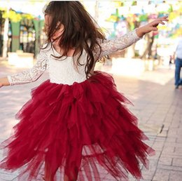 Wholesale Tiered Girls Dress Sleeves - Kids flowers princess dress fashion girls lace long sleeve splicing tiered falbala tulle long dress children christmas party dresses T0166