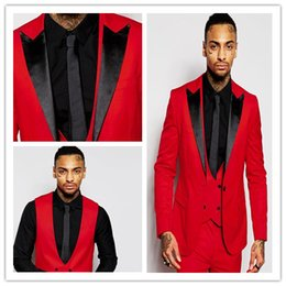 Wholesale Mens Wedding Suits Red Tie - Fashion Red Mens Suits Black Peaked Lapel Three Pieces Groom Tuxedos Custom Made Slim Fit Groomsmen Wedding Suits ( Jacket+Pants+Vest+Tie)