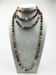Wholesale fire ropes - ST0311 Fancy Long stone necklace making 60 inches agate neckalce Coffee Fire Agate Knots necklace mala necklace
