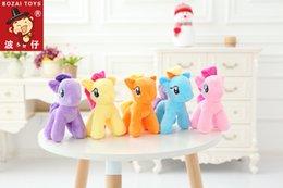Wholesale Toy Horses Wholesale - 18cm High Cute Rainbow Horse Pony Toys Cartoon Toys Hobbies Stuffed Dolls Movie Stuffed Plush Animals Little Horse BaoLi