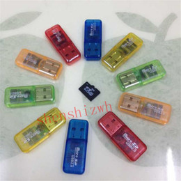 Wholesale China Usb Free Shipping - Free Shipping High Speed crystal USB 2.0 Micro SD card T-Flash TF M2 Memory Card Reader adapter 2gb 4gb 8gb 16gb 32gb 64gb TF Card