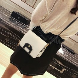 Wholesale Brown Square Envelopes - Women Bag 2017 New Small Bags Europe and American Style Fashion Hit Color Lock Small Square Bag Chain Shoulder Messenger Bag