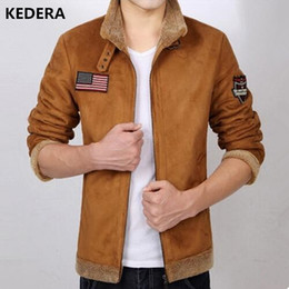 Wholesale Brown Men S Trench Coat - Wholesale- 2016 Men leather winter jacket wool clothing trench style Genuine Leather coat with fur cashmare coat motorcycle jacket
