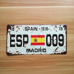 "Wholesale Pictures Garages - Wholesale- RONE138 vintage license Car plates "" ESP-009 MADRID SPAIN "" vintage metal tin signs garage painting plaque picture 15x30cm"