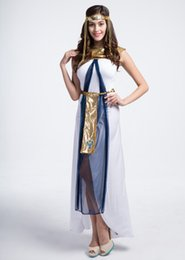 Wholesale Halloween Greek Goddess - 2016 Halloween Costume Greek Goddess Cosplay White Long Dress Queen of Egypt Suit Arab Girl Girl 4 PCS Set
