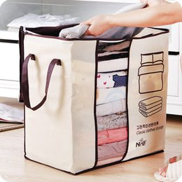 Wholesale closet holder - Wholesale- Non-Woven Family Save Space Organizador Bed Under Closet Storage Box Clothes Divider Organiser Quilt Bag Holder Organizer 64500