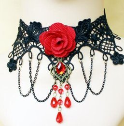 Wholesale Black Lace Rose Necklace - Red Rose Flower Chokers For Women Girls Vintage Statement Necklace Black Lace Imitated crystal Bridal Chunky Bling Pendant Jewellry Collar