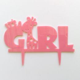Ragazzi di dolciumi per bambini online-Nuovo arrivo Baby Shower Birthday Party Cake Inserto Card Blue Elephant È un ragazzo Cake Topper Pink Deer È una ragazza Cake Topper