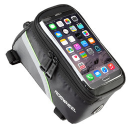 "Wholesale Bicycle Frame Handle - ROSWHEEL 4.8"" 5.7""Cycling Bike Bicycle bags panniers Frame Front Tube Bag For Cell Phone MTB Bike Touch Screen Bag"