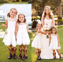Wholesale Chiffon Pageant Dresses Girls - New Lovely Short Lace Toddler Flower Girls Dresses 2017 Crew Neck Sleeveless Country Wedding Style Pageant Party Dresses For girls
