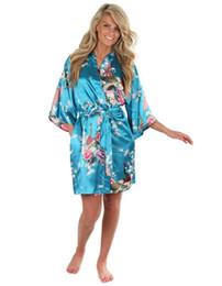 Wholesale Oversize Flowers - Wholesale-Classy Blue Female Summer Short Mini Robe Silk Rayon Sexy Nightgown Kimono Bath Gown Flower Oversize S M L XL XXL XXXL