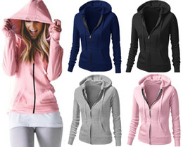 Wholesale Cheap Pink Hoodie - New Casual Sweatshirts For Women Hot Sale Hoodies Long Sleeve Zipper Cotton Jackets Cheap Women Coats Free Shipping