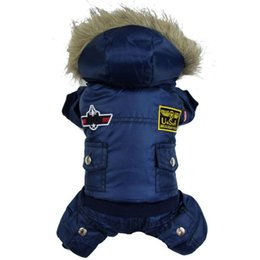 Wholesale Dog Clothes Pants - Small Pet Dog Winter Warm Padded Hoodie Jumpsuit Pants Apparel Clothes XS-XL