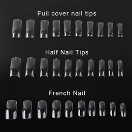 Wholesale tips for clear nails - 500 PCS Clear False Nail Acrylic UV Gel Half French Transparent Nail Tips For Women Nail Art Beauty Tools 0603042