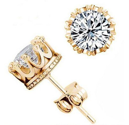 Wholesale Stainless Earing - Fashion Crown 18k Gold Silver Plated Earrings Women Brincos De Prata Men CZ Diamond 925 Silver Crystal Jewerly Double Stud Earing