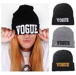 Wholesale Wholesale Cuffed Beanies - VOGUE Beanies Fashion Cuffs Winter Beanie Hip-Hop Hat Gorro VOGUE Beanies Cap Unisex Knitted Wool Cap Winter Beanies