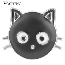 Wholesale VOCHENG NOOSA mm Black Cat Ginger Snap Hand Painted Interchangeable Jewelry Vn