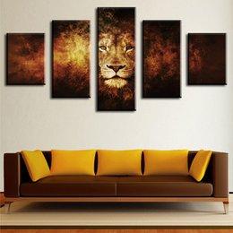 2020 arte da lona do leão 5 Peça leão Casa Moderna Decoração Da Parede Da Lona Imagem Art HD Impressão Pintura A PAREDE Conjunto de 5 Cada Lona Artes Unframe arte da lona do leão barato