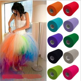 Wholesale Decorating Fabric Table - DIY 6 Inch * 25 Yards US Net Yarn Roll Wedding Party Table Skirt Decorated Clothing Fabric Puff Skirt Tutu Yarn Roll 20D 100% Polyester