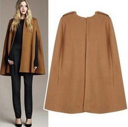 Abrigo de camello de cachemir de las mujeres online-Envío gratis Gorgeous camello color LANA Cashmere Cloak Cape Jacket Mod MILITARY Swing sin mangas minimalista capa para las mujeres