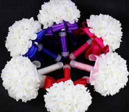 Wholesale Artificial Foam Roses - 2016 Elegant Rose Artificial Bridal Flowers Bride Bouquet Wedding Bouquet Crystal Royal Blue Silk Ribbon New Buque De Noiva 10 Colors