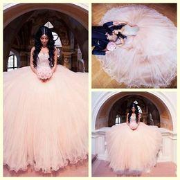 Wholesale Indian Wedding Dress Train - 2016 Indian Style Blush Pink Vintage Wedding Dresses Beaded Rhinestone Sweetheart Arabic Bridal Gowns Custom Made Pricness Wedding Dress