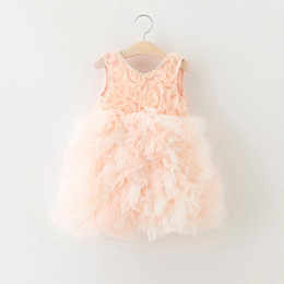 Wholesale Korean Chiffon Mini Dress - 2016 Newest Sleeveless Girl Cake Dresses Children Rose Flower Chiffon Princess Party Dress Korean Kids Flower Wedding Full Dress