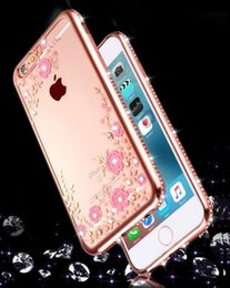 Wholesale Diamond Case For Blackberry - iPhone7 Luxury Bling Diamond Flower Plating Clear Soft TPU Case For iPhone 5 SE 6 6S 7 Plus Huaewi P8 P9 Lite OPPO R7 R7S R9 Plus VIVO