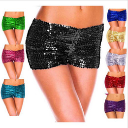 Wholesale wholesale women high waist shorts - Sequins Shorts Casual Summer Leggings Women Elastic Dance Tights Slim Safety Pants Sexy Breeches Clubwear Women's Clothing OOA3207