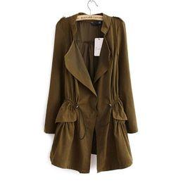 Wholesale Korean Women Coat Office - Fashion 2016 Korean style Office elegant khaki drawstring Waist Long trench coat for women Casual brand windbreaker female