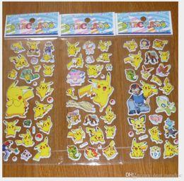 Wholesale Anime Wall - Wholesale Poke mon Sticker Pikachu 3D Wall Stickers Poke go halder children kids toys gifts Wallpaper paster Kindergarten Reward Xmas Gifts
