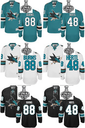 Wholesale 48 Sharks Jersey - 2016 Wholesale Men's San Jose Sharks #88 Brent Burns #48 Tomas Hertl Black  White  Green 2016 Stanley Cup Final Bound Jerseys