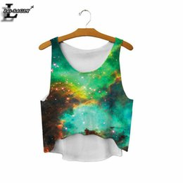 Wholesale Galaxy Tanks - Wholesale-2016 Dream Of Galaxies Printed Gradient Crop Tops Vests Popular Comfortable Casual Fashion Cropped GYM Tank Top Women F1230