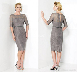 Knee Length Mother Of The Bride Dresses Silver Gray Lace Sheath With Half Sleeves Beaded 2016 Cheap Custom Made Wedding Guest Party