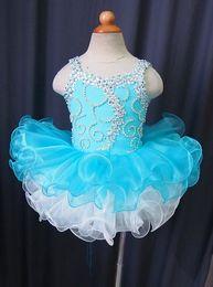 Wholesale Cupcake Green Pageant Dresses Girls - Spaghetti zipper sleeveless blue flower girls organza beads cupcake little girls pageant dresses kids toddler glitz prom Infant ball gowns
